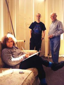Fran, Jimmy and Peter get used to the hardships of 'indoors surveying'.